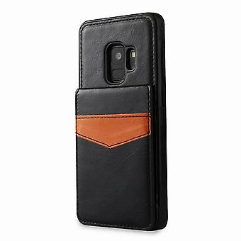 Magnetic shockproof leather case with slot for Samsung Galaxy S7 Edge - Black