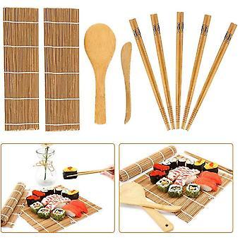 Bambus Sushi-Kit, 9 Teile, Anfnger, Bambus-Rollmatte fr die Eigenherstellung von Sushi, inklusive 2