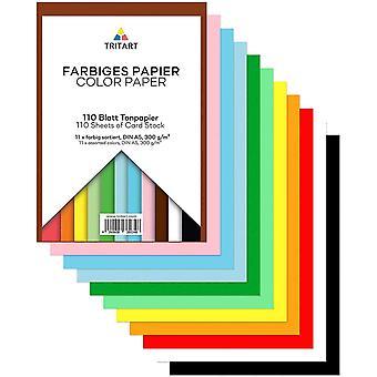 Buntpapier A5 300g m I 110 Blatt festes Bastelpapier durchgefrbt I stabiler Tonkarton zum Basteln I