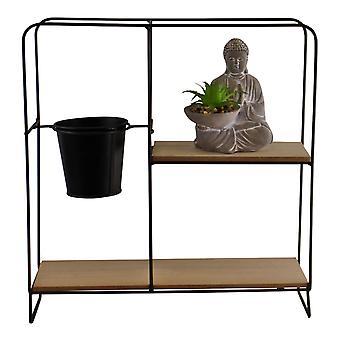 Freestanding Black Metal Shelf Unit With Pot & Buddha Statue, Square