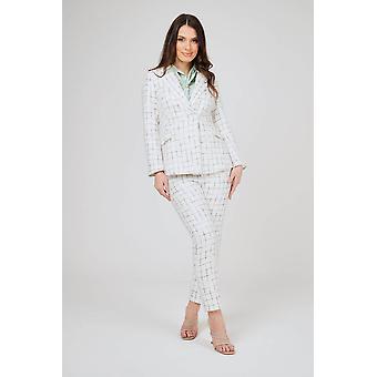 Biela skontrolovaná 2 ks tweed nohavicový oblek