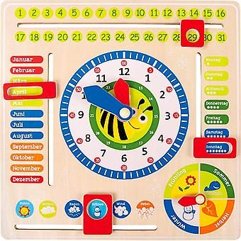 FengChun 4765 Lernuhr aus Holz, Lerntafel zum Lernen von Datum, Uhrzeit als auch Jahreszeiten, ab 3