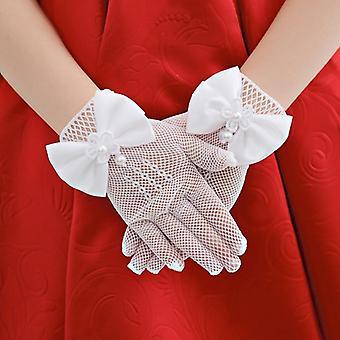 Copii Dantelă Pearl Mesh Bow Gloves