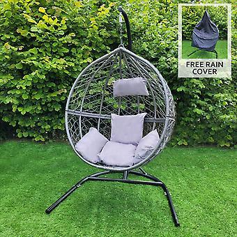 Ei stoel rotan hangende schommel bank tuin patio outdoor binnen | met kussens