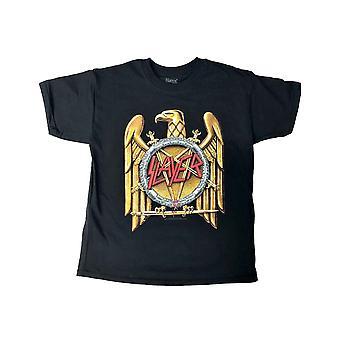 Slayer Kids T Shirt Gold Eagle Band Logo new Official Black Ages 5-14 yrs