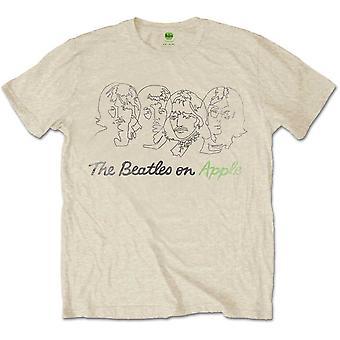 The Beatles - Outline Faces op Apple Men's XX-Large T-Shirt - Sand