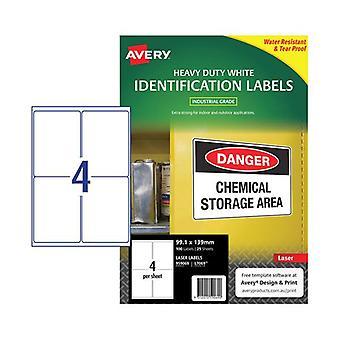 Avery Laser Label Heavy Duty White L7069 4Up Pack Of 25