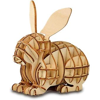 3d Wooden Puzzle Toys For Kids Adults Wooden Animal Rabbit Model Puzzle