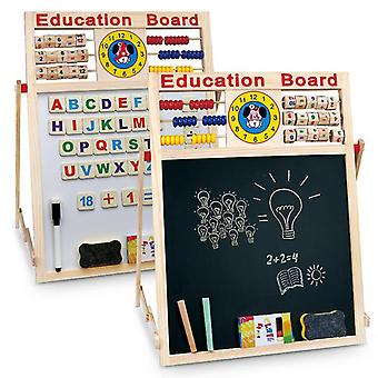 2 in1 Kids Easel - Wooden Blackboard Whiteboard Childrens Drawing Art Chalk Board
