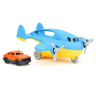 Green Toys Cargo Plane (Blue) Flying Pretend Play Vehicle Aircraft with Car