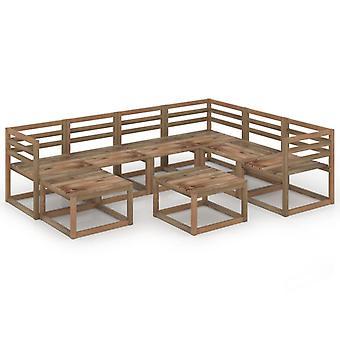 vidaXL 8 szt. Garden Lounge Set Brązowy Impregnowane drewno sosnowe