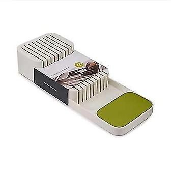 Kitchen Drawer Organizer Tray For Knives Block(Green)