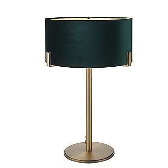bord lampe matt antikk messing plate, grønn fløyel skygge