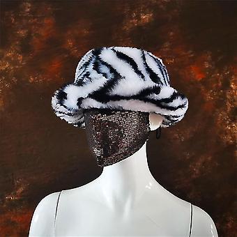 Moda toamna iarna femei Faux Blana Bucket Hat, Soft Cald De pescuit Cap (Zebra)