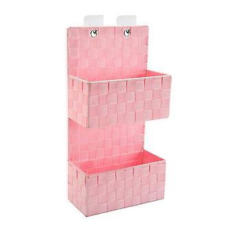 Organizador de ropa colgante Pink Textile (11,5 x 48 x 22 cm)