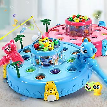 Children Playing Hamster Fishing Plate 2 In 1 Toy Boy Girl Puzzle Music Toys