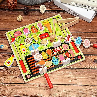 Children's Wooden Kitchen Toys Pretend To Play With Puzzles, Cut Fruits, Vegetables, Animal Foodb