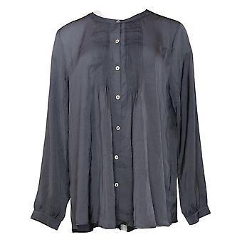 LOGO by Lori Goldstein Women's Top Satin Blouse Pintuck Detail Gray A366371
