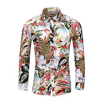 Mile Mens Luxury Printed Shirt Casual Long Sleeve Button Down Vintage Dress Shirt For Party Wedding
