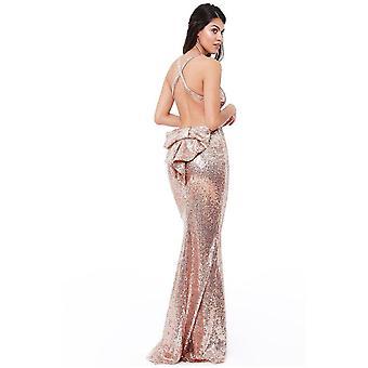 Goddiva Bow Detail Sequin Maxi Dress  - Champagne