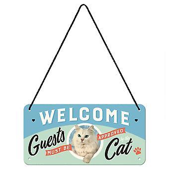 Humoristiskt katttema vintage design hängande välkomstskylt