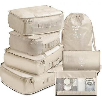 7 Set Travel Storage Bags Multi-functional Clothing Sorting Packages(White)