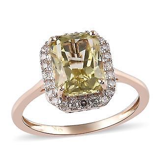 3.10 Ct. AA Hiddenite and White Diamond Halo Ring in 9K Yellow Gold(O)