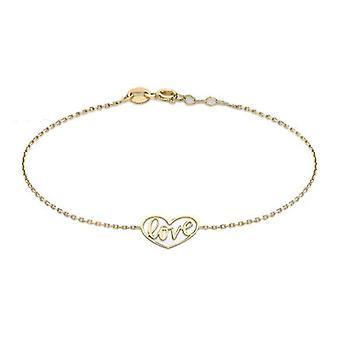 9ct geelgouden liefde hart ketting armband voor vrouwen maat 7.5 & in glanzende afwerking