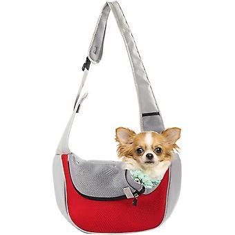 Haustiertasche Schultertasche Hund Brust Messenger Bag Ausgehen Tragbare Haustiertasche Hundetrage Katze Brusttragetasche Messenger Bag Pet Bag Rot Grau S