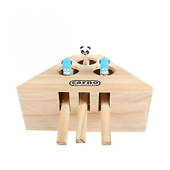 Venalisa Cat Hunt Toy Chase Mouse Solid Wooden Interactive Maze Brain Game Pet Hit Hamster With 3/5-holed Mouse Hole Catch Bite Catnip