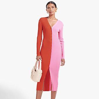Autumn Dresses For Women Slim Midi Dress Long Sleeve Shirt Dress