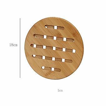 2 Stück dicke Bambus-Isolierpads für den Hausgebrauch für Esstisch (mittlere Größe 18cm)