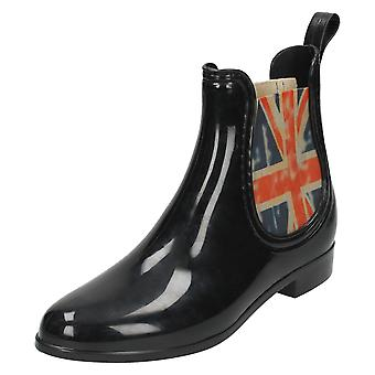 Womens Spot On British Flag Gusset Boots