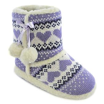 SlumberzzZ Girls Knitted Wool Ankle Boot Slippers