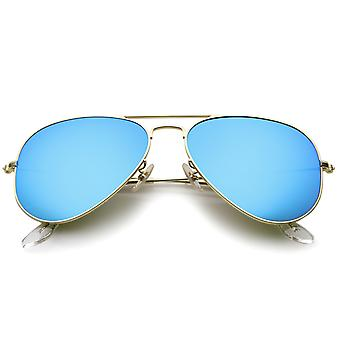 Premie klassieke kleine mat metalen Frame spiegel glazen Lens Aviator zonnebril 57mm