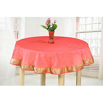 Pink - Handmade Sari Tablecloth (India) - Round