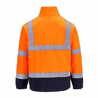 sUw Mens Hi-Vis Safety Workwear Rail Track Side Two Tone Fleece Jacket
