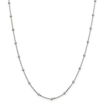 925 Sterling Silver Polido 1mm Beaded Chain Necklace Spring Ring Jewely Gifts for Women - Comprimento: 16 a 24