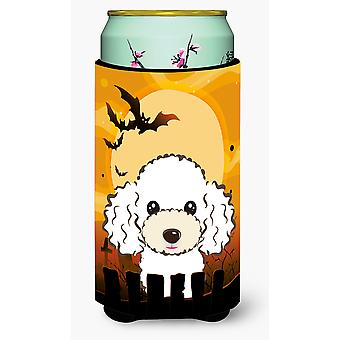 Halloween White Poodle Tall Boy Beverage Insulator Hugger
