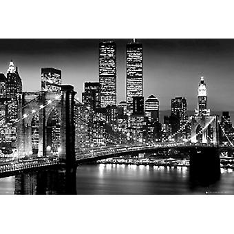 New York City Brooklyn Bridge Night Poster Poster Print