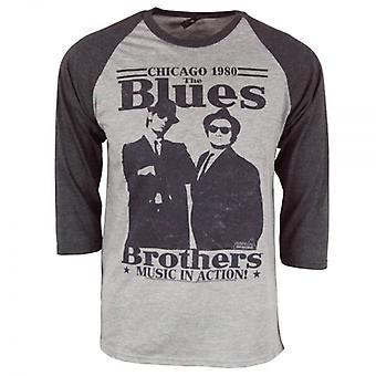 Die Blues Brothers Mens Retro Blues Brothers In Aktion Raglan Heather Grey
