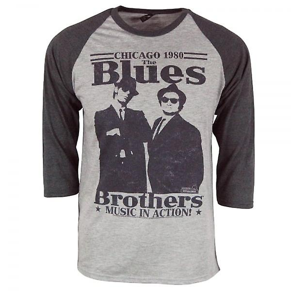 Les Blues Brothers Mens Retro Blues Brothers In Action Raglan gris chiné