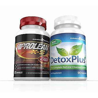 Hiprolean X-S Koffein freien Fett-Brenner reinigen Combo Pack - 1 Monat Versorgungsmaterial - Fatburner und Darmreinigung - Evolution abnehmen