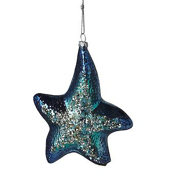 Blue Starfish Glass Encrusted Christmas Holiday Ornament 4.75 Inches
