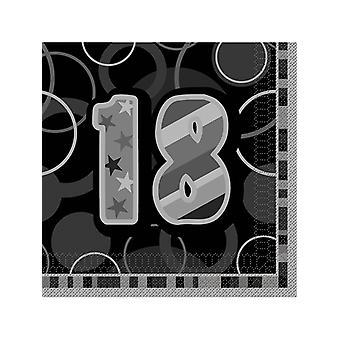Fødselsdag Glitz sort & sølv 18-års fødselsdag - frokost servietter