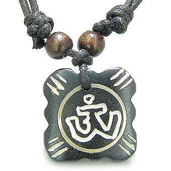 Amulet oprindelige tibetanske OM heldige charme Tag bøn naturlige knogle magiske kræfter vedhæng halskæde