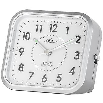 Atlanta 1768/19 alarm clock quartz analog silver quietly without ticking with light Snooze