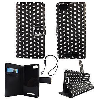 Mobiele telefoon geval zakje voor mobiele 3 van WIKO Lenny polka dot zwart wit