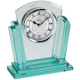 Atlanta 3084 stil ur bord ur kvarts analog sølv med glas