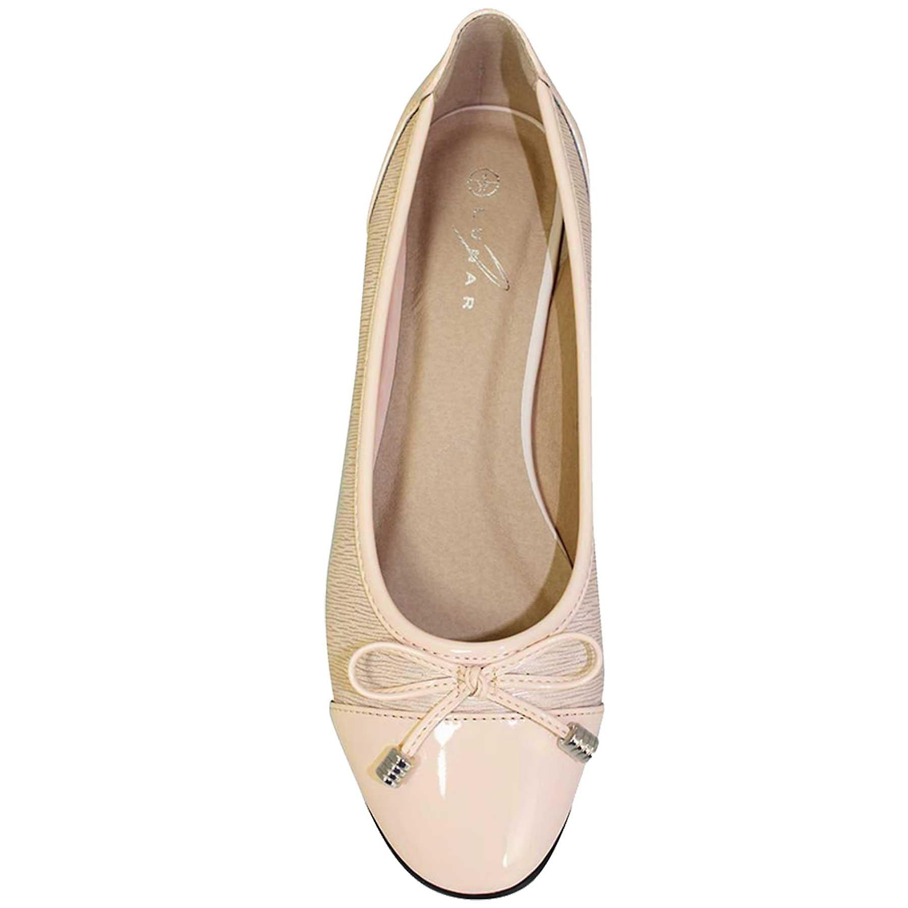 FLC006 Valencia Ladies Bow Accent Patent Smart Casual Pumps Flats Dolly Shoes jsajp